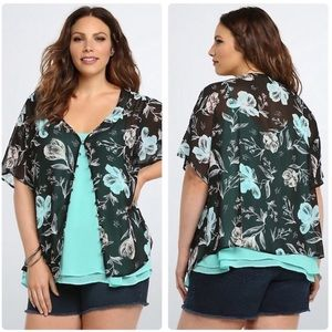 torrid Tops - Torrid Floral Chiffon Button Front Top